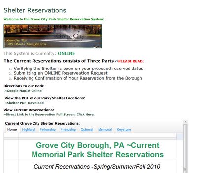 Pavilion Reservations Now Online